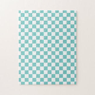 Aqua Checkerboard Pattern Jigsaw Puzzle