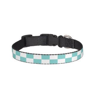 Aqua Checkerboard Pattern Pet Collar