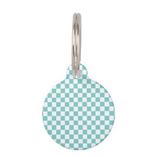 Aqua Checkerboard Pattern Pet Name Tag