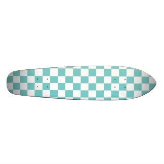 Aqua Checkerboard Pattern Skate Board Decks