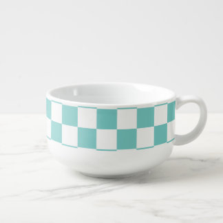 Aqua Checkerboard Pattern Soup Mug