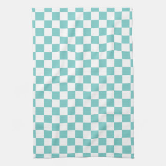 Aqua Checkerboard Pattern Tea Towel
