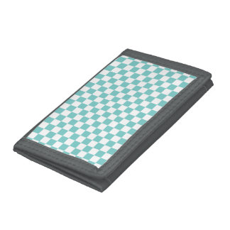 Aqua Checkerboard Pattern Trifold Wallet