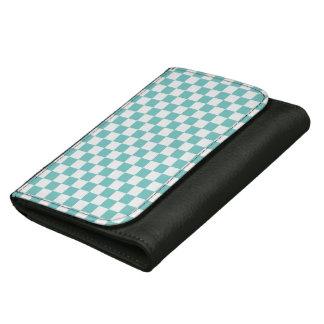 Aqua Checkerboard Pattern Wallet