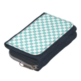 Aqua Checkerboard Pattern Wallets