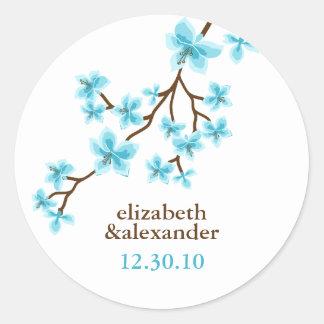 Aqua Cherry Blossoms Round Sticker