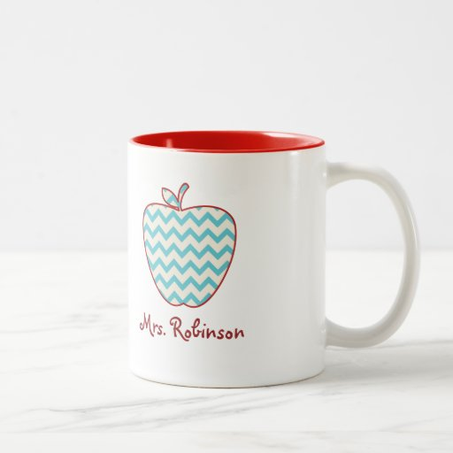 Aqua Chevron Apple Teacher Mug