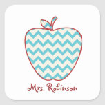 Aqua Chevron Apple Teacher Square Sticker
