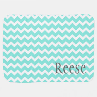 Aqua Chevron Grey Custom Name Baby Blanket