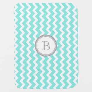 Aqua Chevron Grey Monogram Baby Blanket