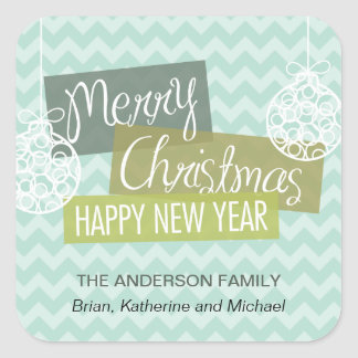 Aqua Chevron Ornamental Christmas Square Sticker