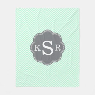 Aqua Chevron Personalized Monogram Fleece Blanket