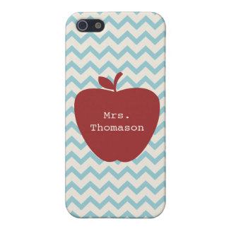 Aqua Chevron Red Apple Teacher iPhone 5c Case