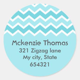 Aqua chevron zigzag pattern zig zag address label