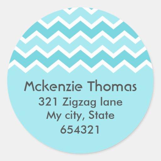 Aqua chevron zigzag pattern zig zag address label sticker