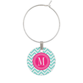 Aqua Chevron Zigzag Personalized Monogram Wine Glass Charms