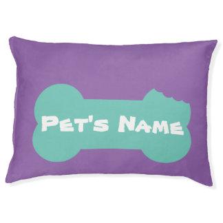 Aqua Chewed Bone Personalized Large Dog Bed 1