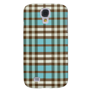 Aqua/Chocolate Plaid Pern Samsung Galaxy S4 Case