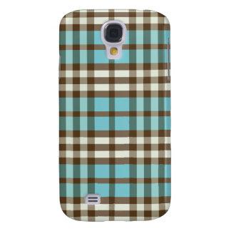 Aqua/Chocolate Plaid Pern Samsung Galaxy S4 Cover