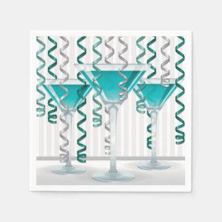 Aqua cocktail and ribbon paper serviettes