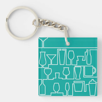 Aqua cocktail party Double-Sided square acrylic key ring