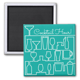 Aqua cocktail party square magnet
