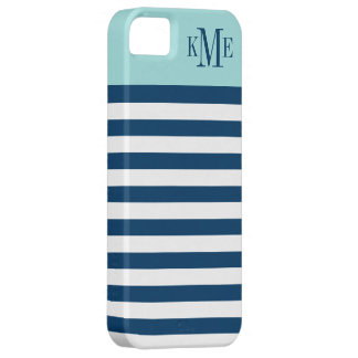 Aqua Color Block Monogram   Navy Stripes iPhone 5 Case