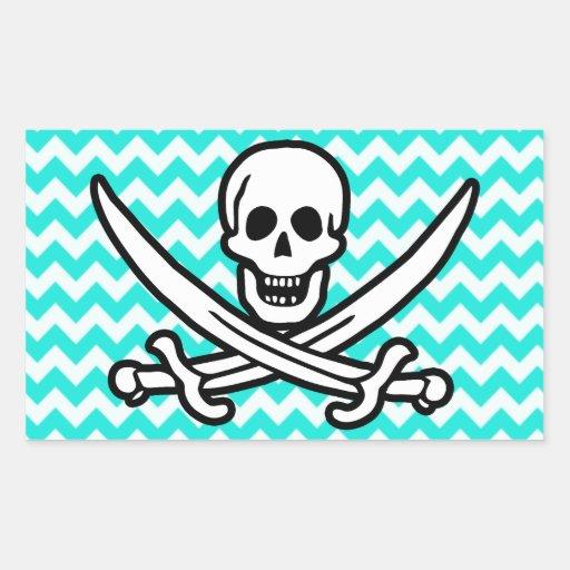 Aqua Color Chevron; Jolly Roger Flag Rectangular Stickers