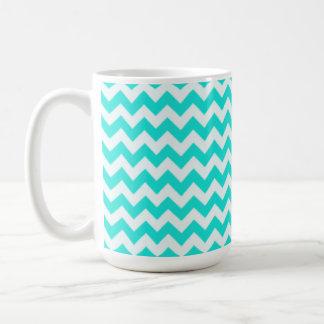 Aqua Color Chevron zig zag Coffee Mugs