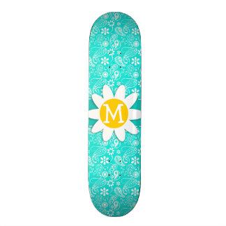 Aqua Color Paisley Floral Daisy Skate Boards