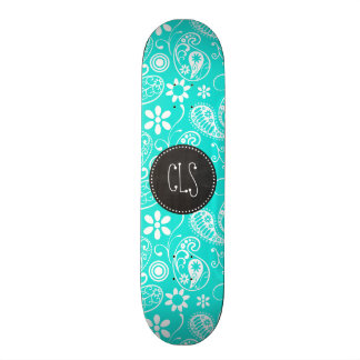 Aqua Color Paisley Floral Retro Chalkboard Skate Board