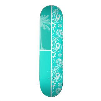 Aqua Color Paisley Floral Summer Palm Custom Skate Board