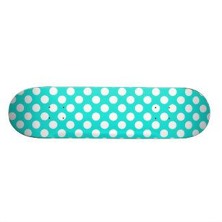 Aqua Colour Polka Dots Skate Board Decks
