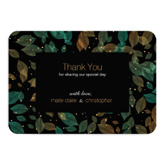 Aqua Copper Leaves Fall Wedding Thank You Card