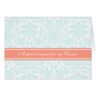 Aqua Coral Damask Cousin Bridesmaid Invitation