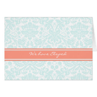 Aqua Coral Damask Elopement Announcement Card