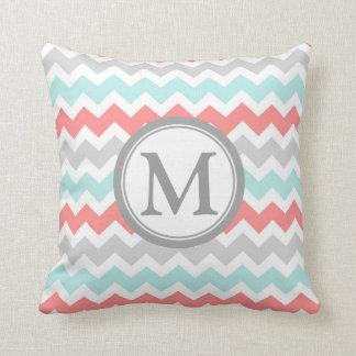 Aqua Coral Grey Chevron Monogram Decorative Pillow