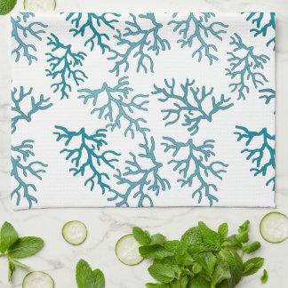 Aqua Coral Reef patterns Kitchen Towel