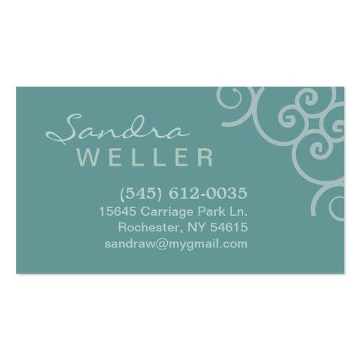 Aqua Corner Swirl Design - Personal Business Card