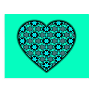 Aqua Cosmic Burst Heart Postcard