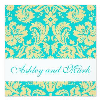 Aqua Cream Damask Wedding Invitations
