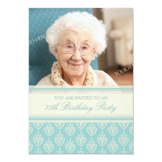 Aqua Cream Photo 75th Birthday Party Invitations