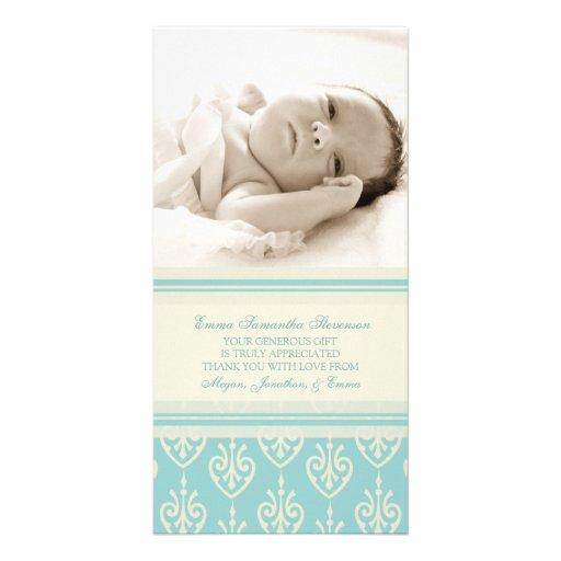 Aqua Cream Thank You Baby Shower Photo Cards