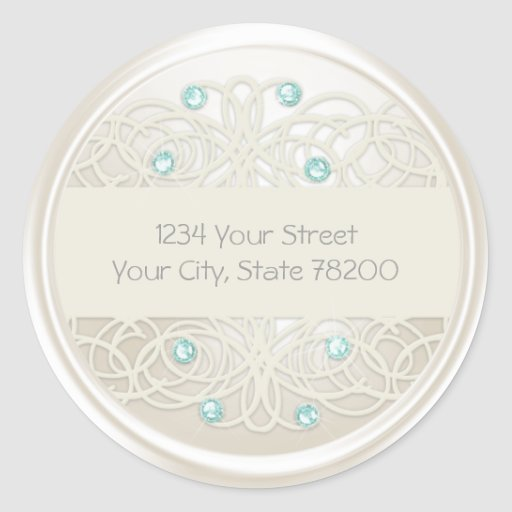 Aqua Crystal and Pearl Damask Return Address Stickers