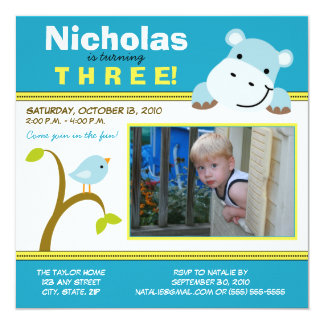 Aqua Custom Hippo & Birdie Birthday Party Invite