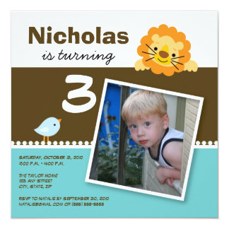 Aqua Custom Lion & Birdie Birthday Party Invite