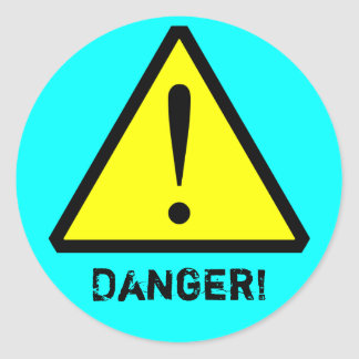Aqua Customizable Warning Symbol Sticker