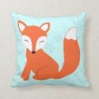 Aqua Cute baby fox pillow by Cindy Bendel
