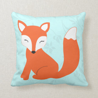 Aqua Cute baby fox pillow by Cindy Bendel