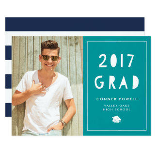 Aqua Cutout | Photo Graduation Party Invitation